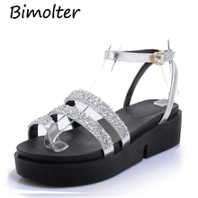 Bimolter Summer Fashion Women Flip Flops Gladiator Sandals Platform Wedges Rome Style Bling Shiny Buckle Strap PSEA016