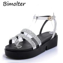 Купить с кэшбэком Bimolter Summer Gladiator Sandals Buckle Strap Platform Wedges Casual Shoes Women Fashion Rome Style Bling Shiny Sandals PSEA017