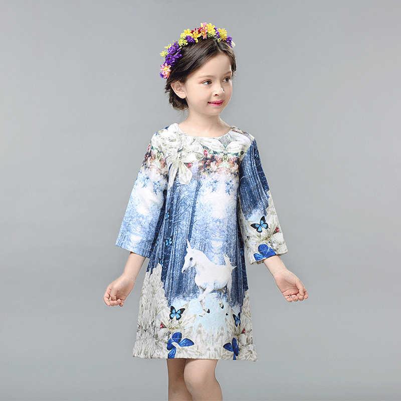Детское осеннее платье для девочек; Vestidos; платье принцессы с единорогом; Детский костюм для младенцев; вечерние платья; платье с бабочкой для малышей
