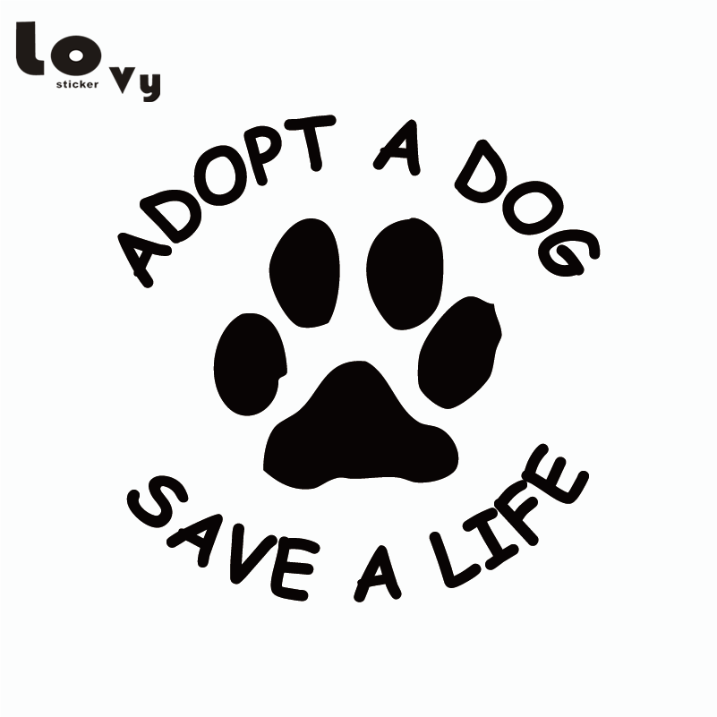 Adopt A Dog Save A Life Vinyl Car Sticker Dog Paw Sticker Removable Truck Decal