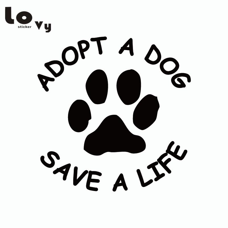 Adopt A Dog Save A Life Vinyl Car Sticker Dog Paw Sticker Removable Truck Decal