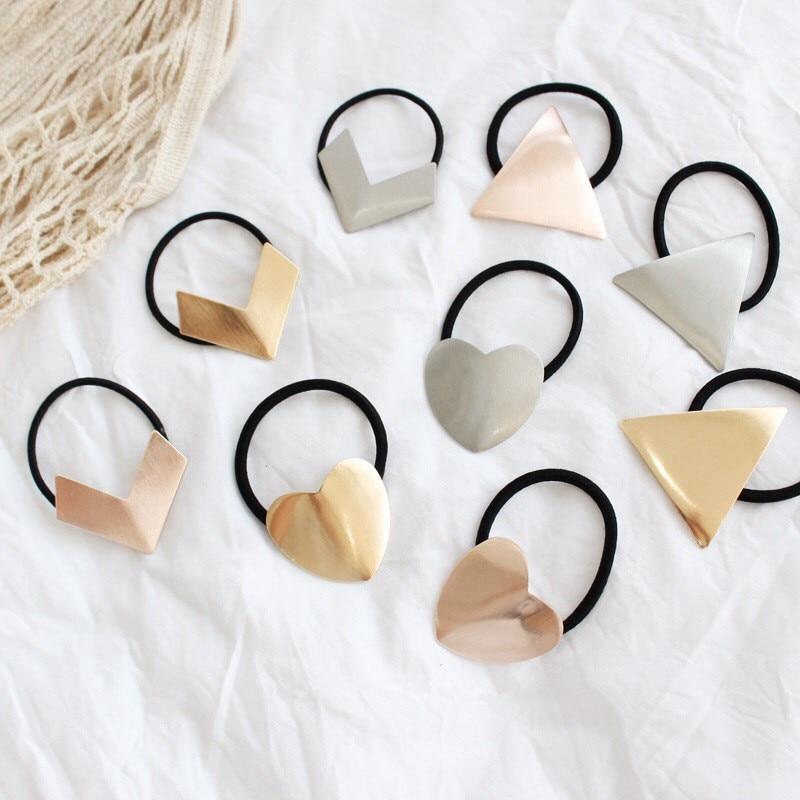 2019 Popular Geometric Metal Simple Scrunchie Women Elastic Hair Rubber Bands Accessories For Girls Ties Hair Ring Rope   Headwear