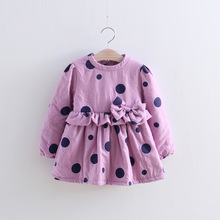 Wholesale New 11 Children Girls Fresh Polka Dot Bow Velvet Dress Girl Kids Winter Princess Dresses Winter  Girls Clothes