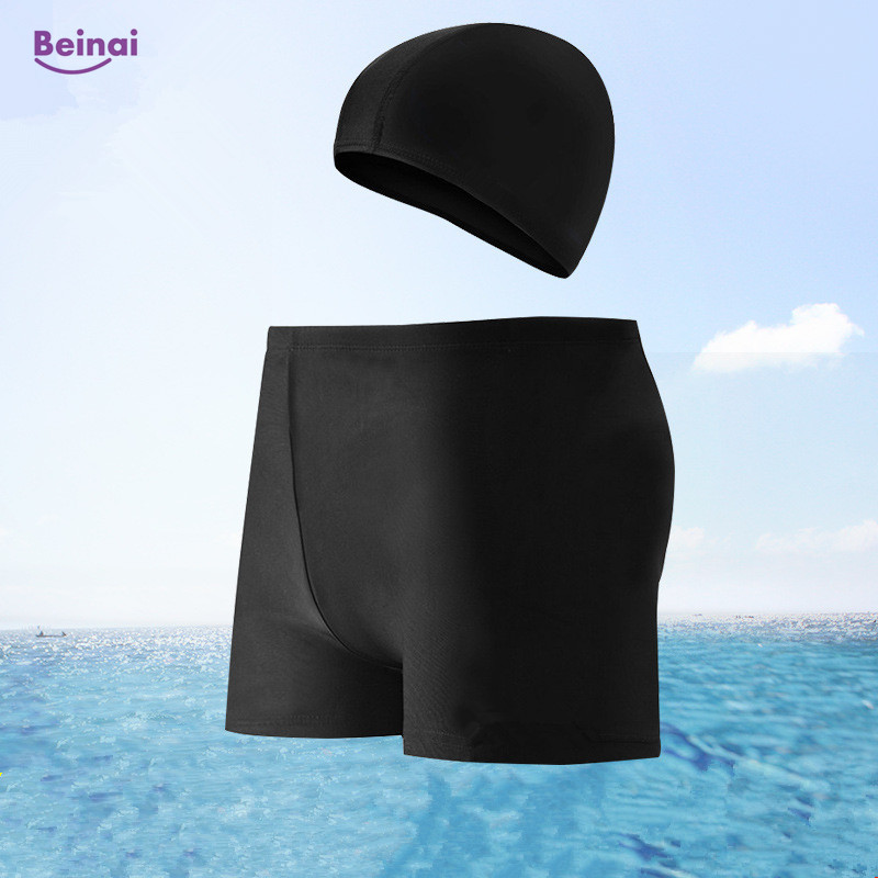 Beinai New Breathable Quick Dry 2Pcs Swimming Trunks Suit Beach Board Shorts Outdoor Sport Shorts Solid Men Swimwear Mens Shorts