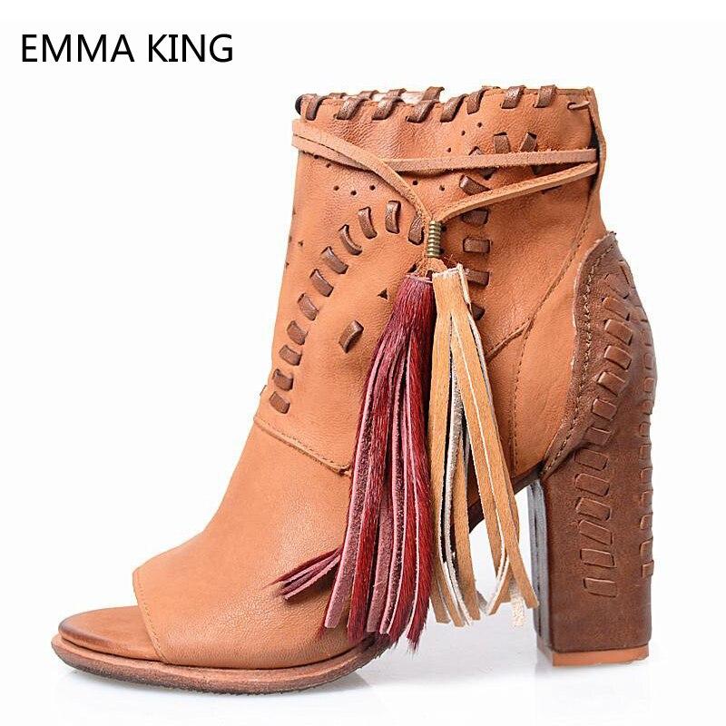 8018d93f8fdfc8 À Dames Sandale Talons Sandales chaussures Romain En Bottines Franges Femmes  Spartiates Épais Zip Pour Toe ...