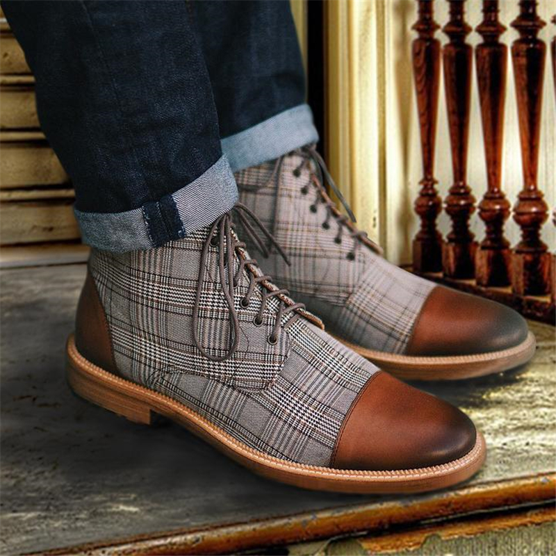 Spring Autumn Men Boots Vintage Style Men Shoes Male Casual Fashion PU Leather Lace-up Plaid British Shoes Men Ankle Boots P20