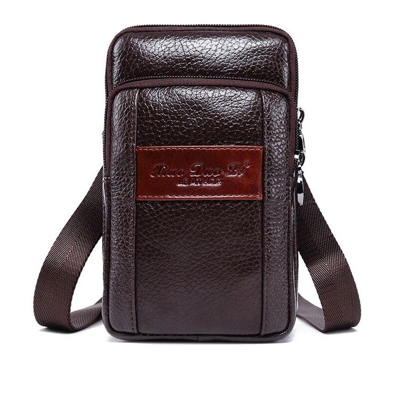 Casual Men Genuine Leather Fanny Pack Waist Bag Phone Pouch Fashion Shoulder Crossbody Bag Coin Purse Pocket Bum Belt Bags 2018