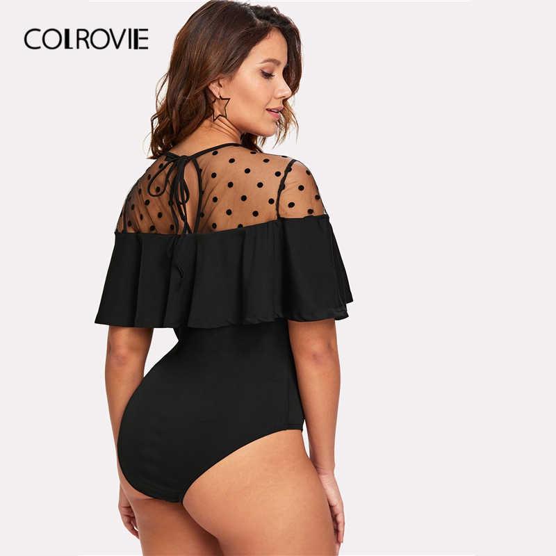 COLROVIE/большие размеры, черное элегантное боди в горошек, украшенное, 2019, летний рукав-волан, Сетчатые эластичные чарующие боди