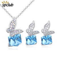 Luxury Cube Crystals From Swarovsk Silver Color Earrings Statement Butterfly Jewelry Set For Women Wedding Female Party Sets