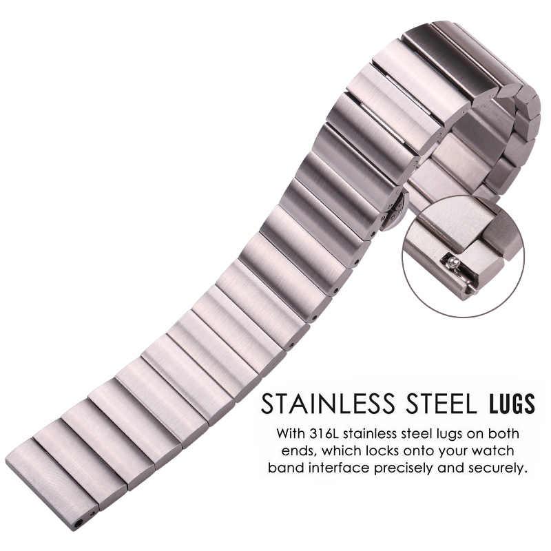Bracelet de montre en acier inoxydable massif Bracelet 16mm 18mm 20mm 22mm argent noir brossé Bracelet de montre en métal