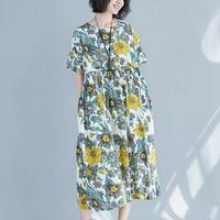 Women dress Short Sleeve O Neck Slim Loose Fat Mm Big Flower Dresses 2128