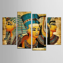 4 pieces / sets of Postmodern wall art abstract modern Egyptian woman portrait canvas painting in the living room print(China)