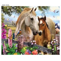 5D Round Full Diamond Painting Animal Horses Diamond Mosaic Embroidery Cross Stitch Handmade Crafts Home Decoration
