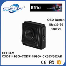 Mini Vigilância CCTV 1/3 Sony CCD Effio-V 800TVL Super Real WDR 0.0003Lux Starlight Quadrado Em Miniatura Mini Câmera CCD com OSD