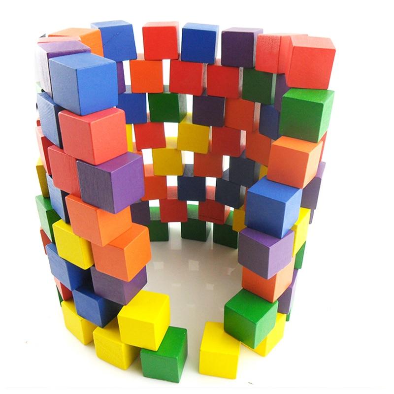 CXZYKING Bois Cubique Brique Jeu 100 PCS Pièce 1 cm DIY Blocks Set Jouets En Bois Cubes Jouet Éducatif Pour Bébé enfants