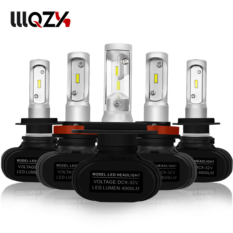 FUOX Super bright Auto 2PCS S1 Auto H3 H8 H11 H4 Led H7 Bulb Car Headlight High Low Beam 50W 8000LM 12V 24V Fog Light Kit free shipping 2pcs super bright car headlight 9007 hi lo h l high and low 60w 6000lm cob all in one led auto front fog bulb