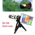 2017 5X-15X Lentes de Telefoto Câmera Do Telefone Telescópio Lente Zoom Ótico com Tripé casos para samsung s3 s4 s5 s6 s7 edge note 4 5