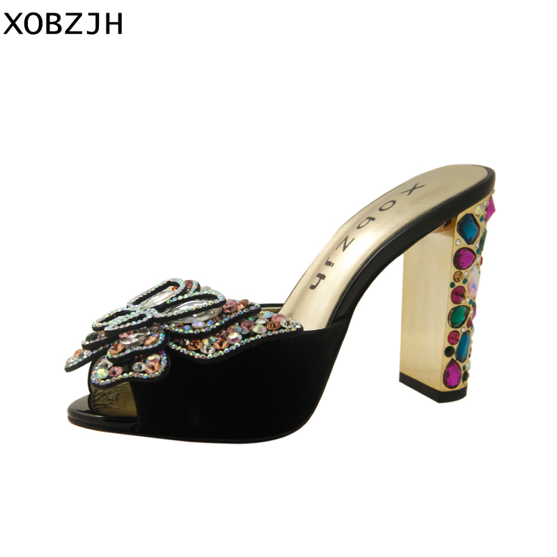 High Heels Summer Sandals Women Shoes 2019 Brand Luxury Designer Ladies Leather Wedding Rhinestone Sandal Shoes Woman Glass Heel