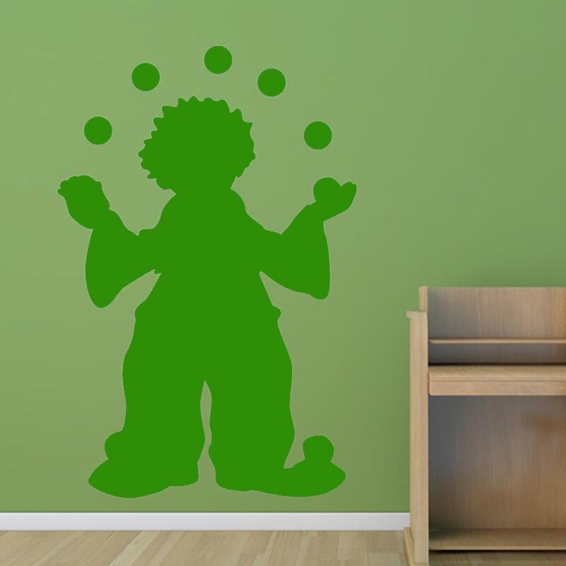 Circus Clown Juggling Wall Sticker Boys Bedroom Decorative