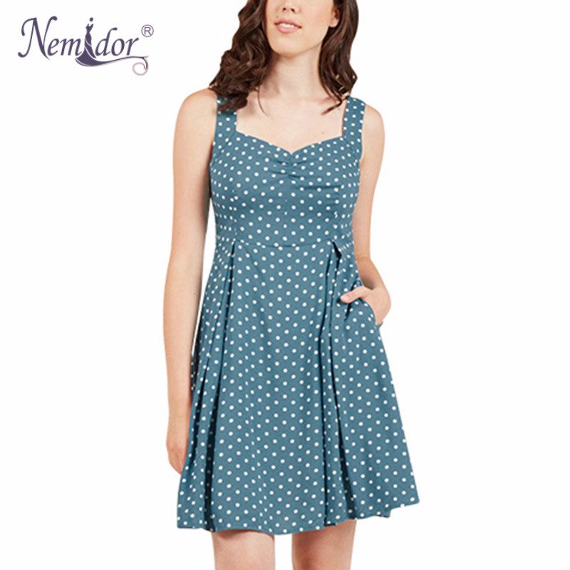 2180f26480 US $25.99 |Nemidor Women 1950 Style Sexy Backless Vintage Dot Swing Dress  Sexy Sleeveless Party Stretchy Plus Size 8XL A line Dress-in Dresses from  ...