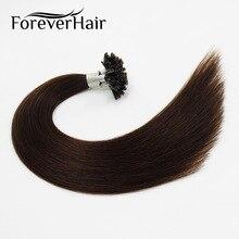 """Волос навсегда 0.8 г/локон 18 """"Реми ногтей Подсказка prebonded клея кератина Пряди человеческих волос для наращивания темный коричневый #2 50 нитей Прямые Fusion"""