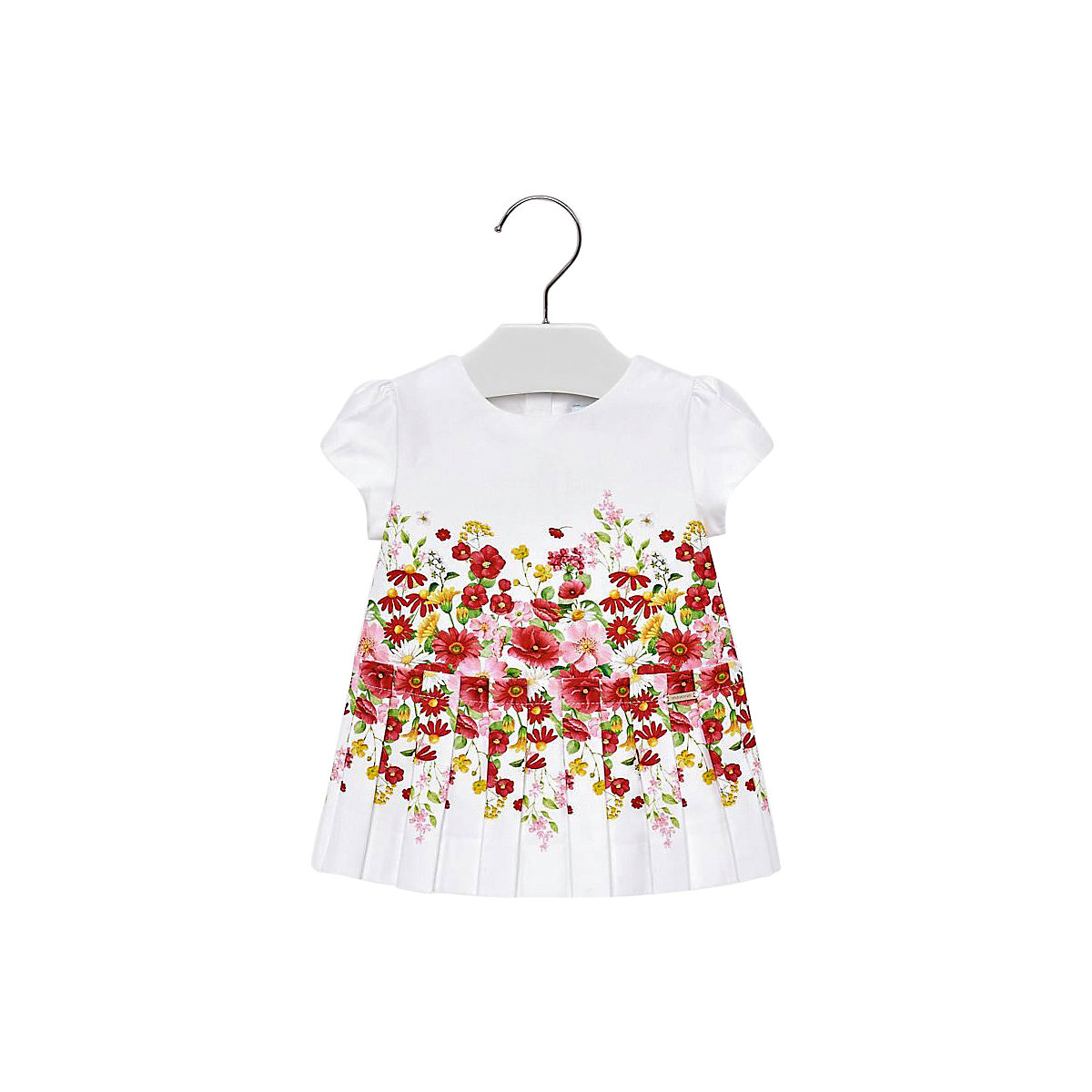MAYORAL Dresses 10678522 Girl Children fitted pleated skirt White Cotton Casual Floral Knee-Length Short Sleeve white tube top and floral print pleated hem skirt co ord