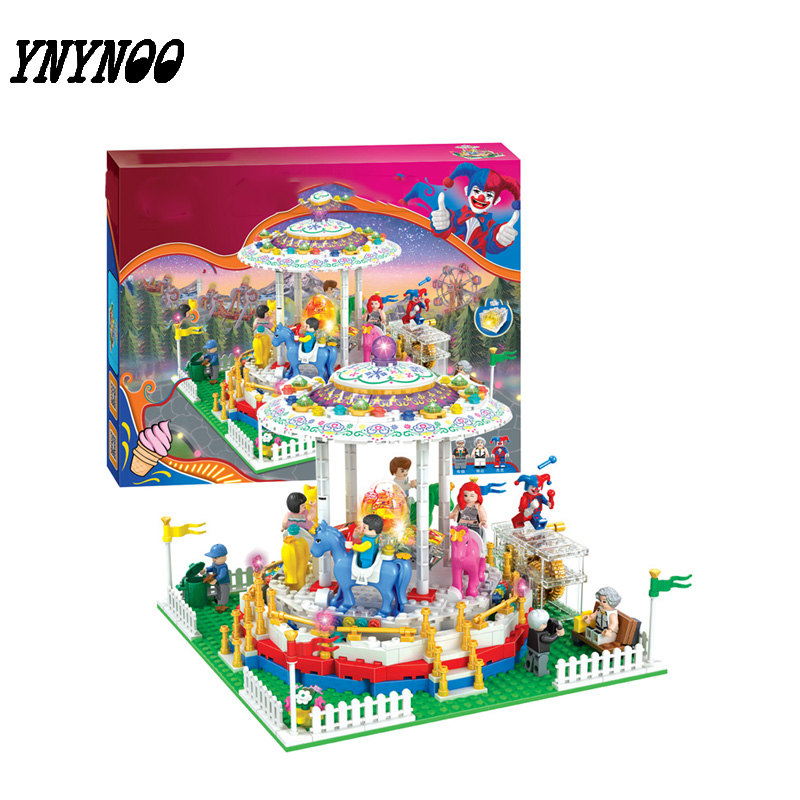 (YNYNOO)City Series Girl Friends Modern Paradise Carousel With Lighting series  Building Block Toys Compatible with ynynoo lepin 02043 stucke city series airport terminal modell bausteine set ziegel spielzeug fur kinder geschenk junge spielzeug