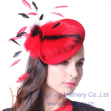 Free Shipping Women Fascinator Hats cocktail Party  Feather Fascinator Hair Accessories Headband Red Faux Fur Hat