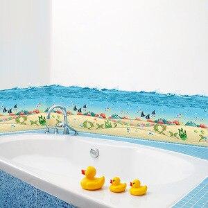 ^ % Ocean fish mar azul Contornando rodapé adesivos de parede à prova d' água cozinha casa de banho quarto quartos dos miúdos 3d removível home decor