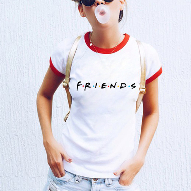 c88872cdc Friends Tv Show T-Shirt Letter Printing Aesthetic Clothing Women's Graphic  Tees Tumblr Popular Summer Style Tops t shirt