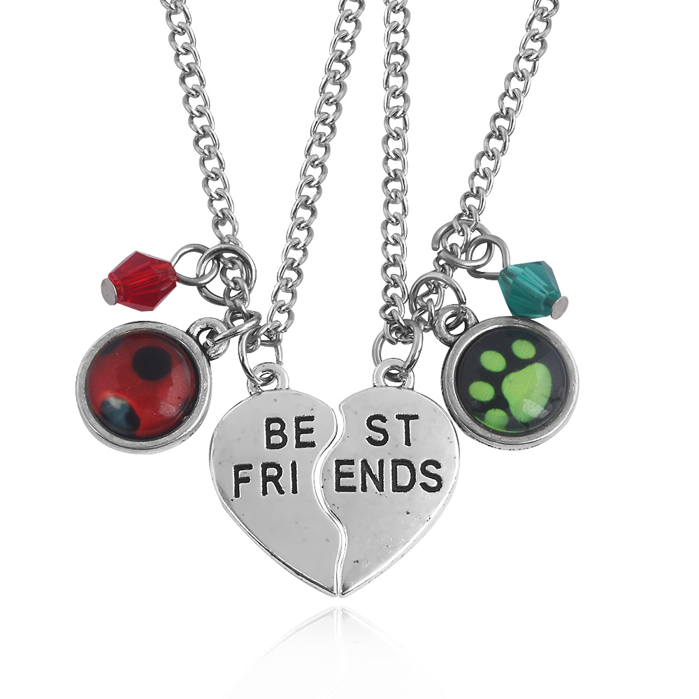 Friendship Heart Love Cat Family Couple Lovers Pendant Necklace Jewelry Gift Hot