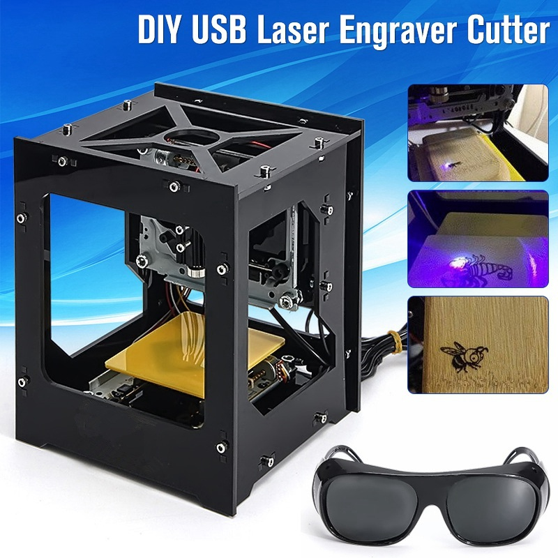 DIY USB Min 300mW Cnc Crouter Cnc Laser Cutter Print Laser Engraver Cnc Engraving Machine High Speed With Protective Glasses 300mw mini laser engraver dc12v usb cnc router diy laser engraving cutting machine desktop 300 400mm with power supply glasses