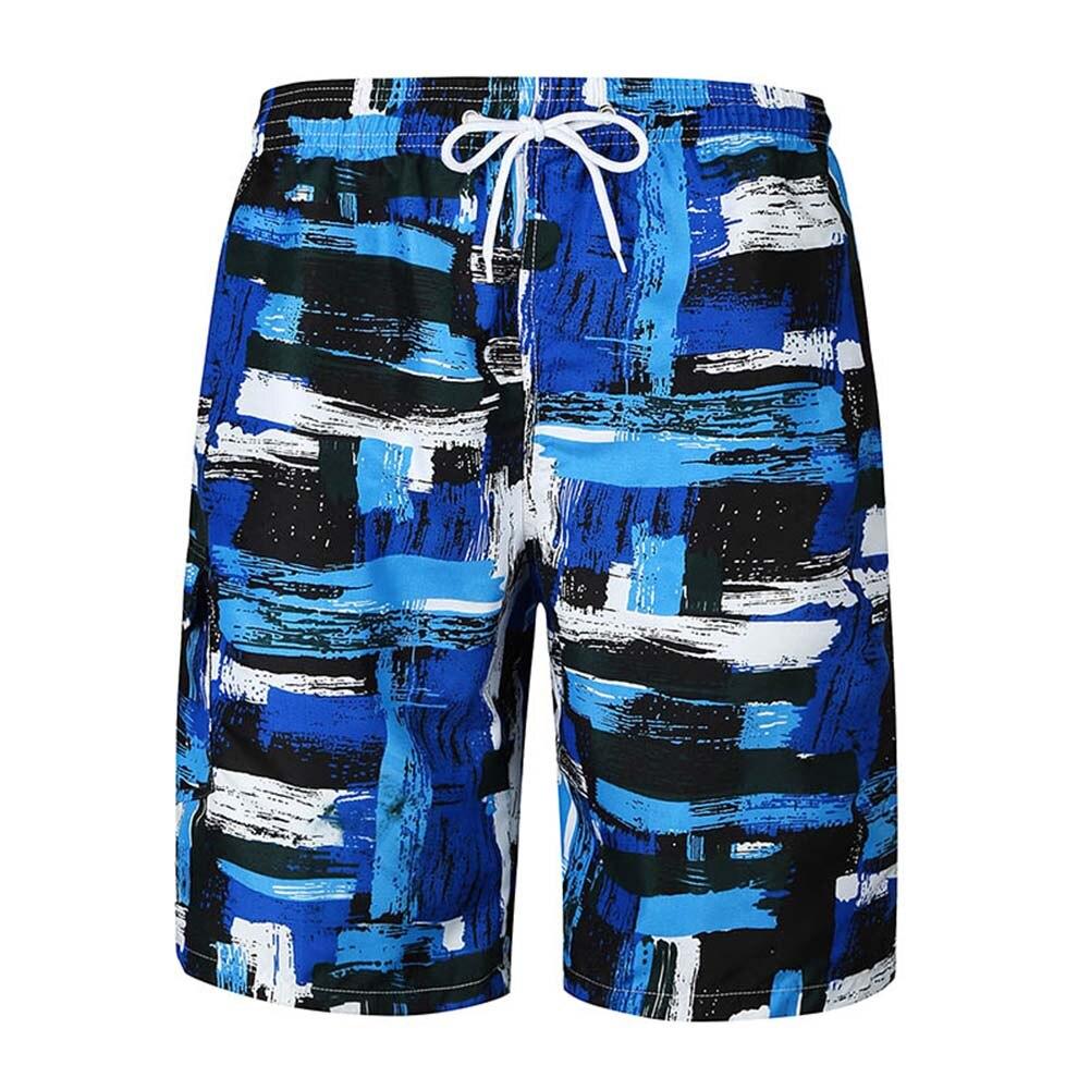 Men Summer Beach Shorts Thin Breathable Quick Dry Irregular Pattern Print Short Pants FS99