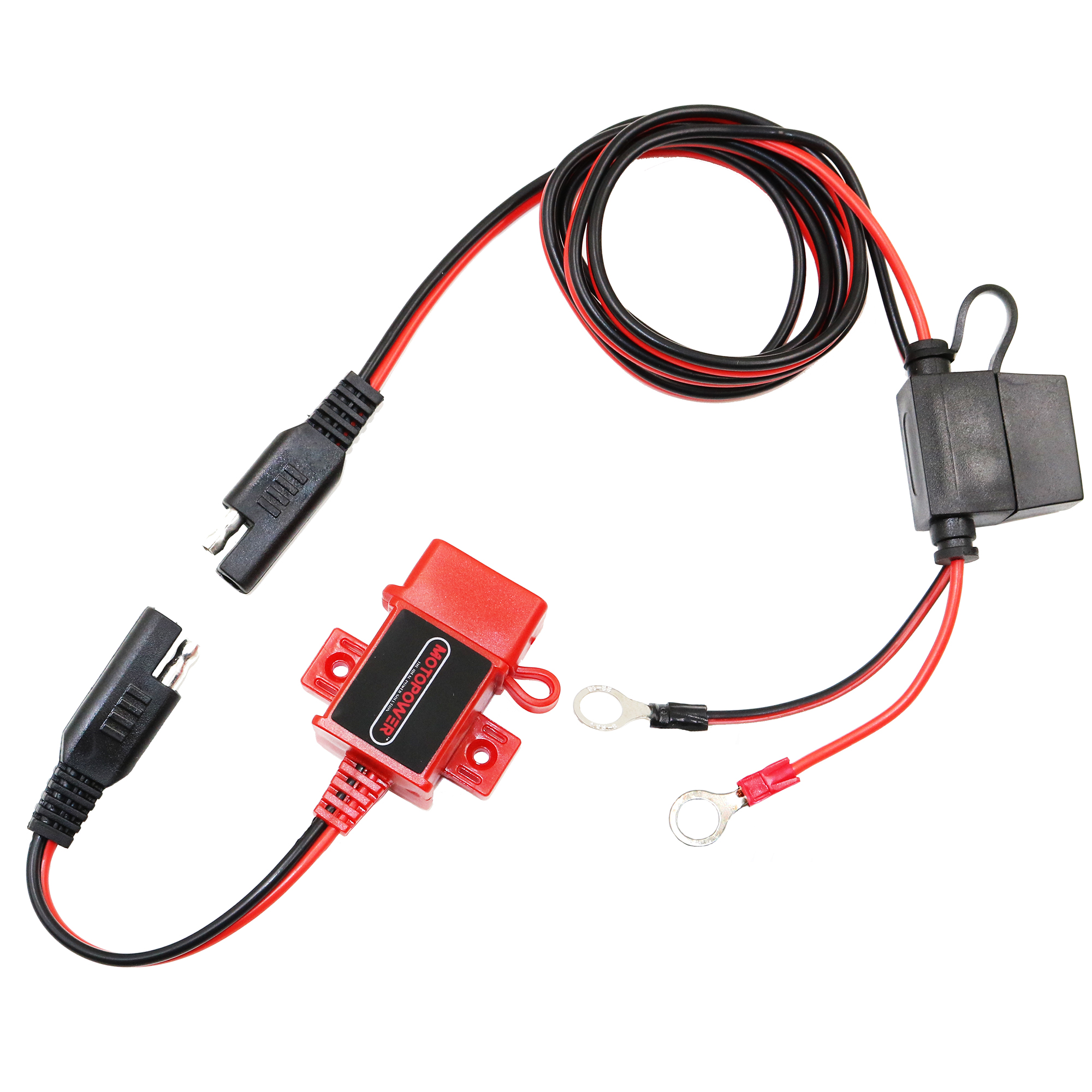 MOTOPOWER MP0609AR 3.1Amp Motorcycle USB Charger Kit SAE to USB Adapter Red