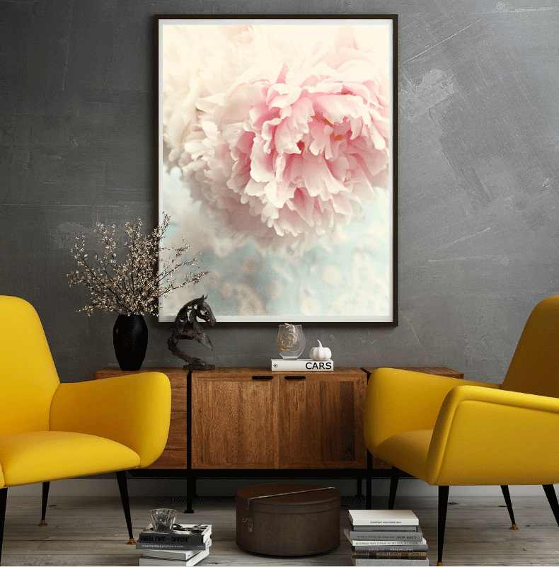 Nordic Style Pink Peony Canvas Painting Poster Modern Decor Wall Art Picture For Living Room Bedroom Dinning Room Aisle Entrance