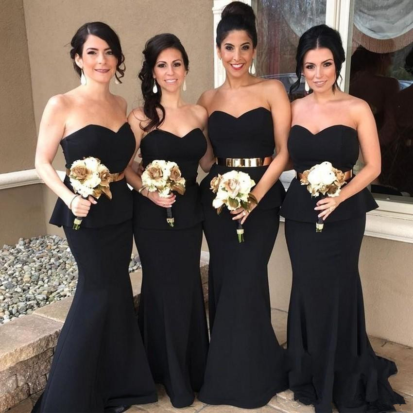 Black 2019   Bridesmaid     Dresses   For Women Mermaid Sweetheart Sash Backless Long Cheap Under 50 Wedding Party   Dresses