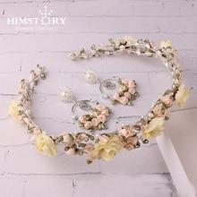HIMSTORY HandmadVintage Baraque Fabric Rose Flower Wedding Hair Pageant Crown Wedding Bride Hair Ornament Hairwear Accessories