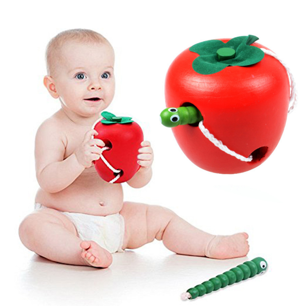 Educational Toys Fun Wooden Toy Worm Eat Fruit Apple Tomato Early Learning Teaching Aid  ...
