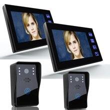 7 Pulgadas de Video Teléfono de La Puerta de Grabación HD 1200TVL 2 IR Noche Cámara y 2 Monitor Manos Libres de Intercomunicación Timbre Timbre