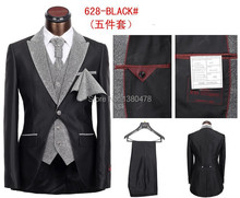 newest men's brand business suits,leisure cultivate one's morality wedding suits 5 piece (coat+pants+jacket+tie+handkerchief )