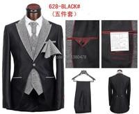 newest men's brand business suits,leisure cultivate one's morality wedding suits 5 piece (coat+pants+jacket+tie+handkerchief )