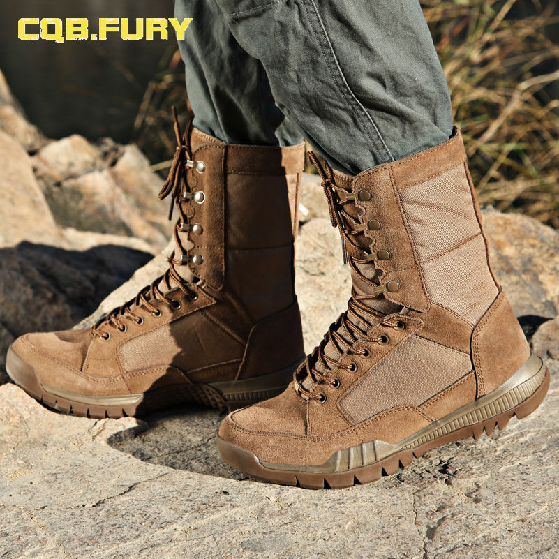 CQB FURY Autumn Mens Military super light leather desert boots Sand tactical cow suede lace up