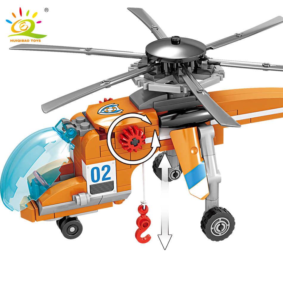 HUIQIBAO Giocattoli 432pcs Città Elicottero di Salvataggio barca Blocchi di Costruzione Per I Bambini Compatibile Legoingly Guardia Costiera La Nave figura di Mattoni