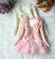 Gorgeous Girls Lace Clothing Set Pearl With Flower Tutu Style 2 Pcs Suit Children S Clothing
