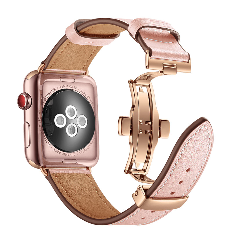 Rose Gold Butterfly Clasp Leather Watch Strap For Apple Watch Band 38mm 42mm For iWatch Fashion Replace Bracelet Watchbands strap