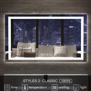 Image 2 - Gisha inteligentne lusterko lusterko łazienkowe z oświetleniem led ścienne lustro łazienkowe toaleta wc Anti fog lustro z ekran dotykowy Bluetooth G8047