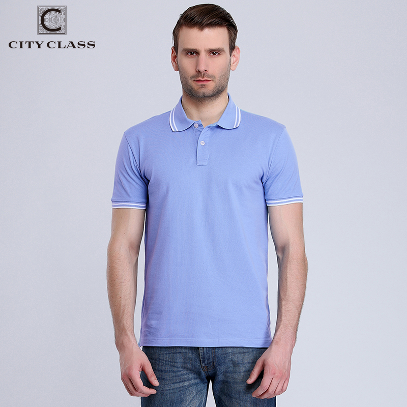 City class new mens cotton polo shirt brand clothing for Business casual polo shirt