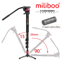 miliboo MTT704B Professional Portable Carbon Fiber Camera Camcorder Tripod for Video/DSLR Stand,Half Price of Manfrotto