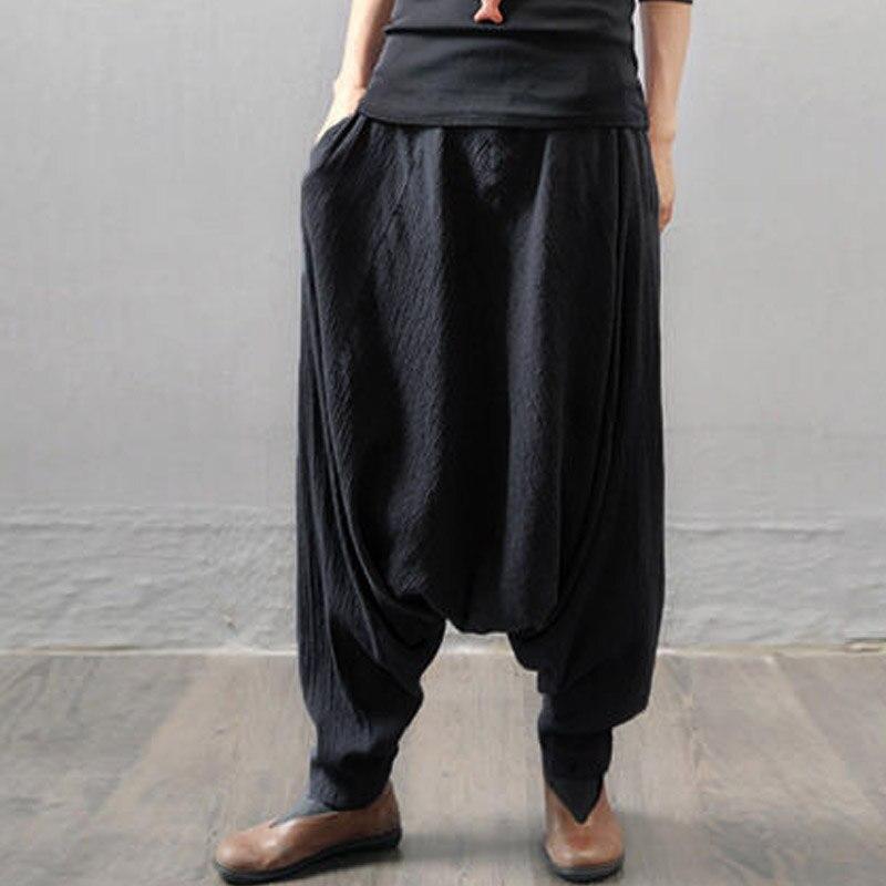 2019 ZANZEA Women Elastic Waist Pockets Drop-Crotch Baggy Pantalon Solid Cotton Linen Long Trousers Black Harem Pants Plus Size