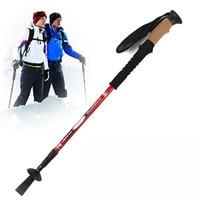 Camping Nordic Walking Stick Carbon Straight Grip Telescopic Stick Handle Cork EVA Tungsten Hiking Trekking Pole Equipment trek